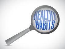 healthy habits magnify glass sign concept Royalty Free Stock Photography