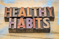 Healthy habits word abstract  - lifestyle concept. Healthy habits word abstract in vintage letterpress wood type printing blocks against painted wood Royalty Free Stock Images
