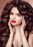 Healthy hair. Makeup. Beautiful brunette girl with long wavy hai Royalty Free Stock Images