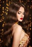 Healthy hair. Makeup. Beautiful brunette girl with long wavy hai Stock Photos