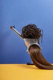 Healthy hair still life. Meat grinder with hair.funny picture still life.hair care stock photography