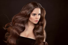 Healthy hair. Wavy hairstyle. Beautiful brunette woman with clea. N skin and shiny brown straight long hair isolated on black background Stock Photos