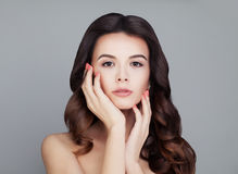 Healthy Hair Woman. Shiny Curly Hairstyle. Skin and Haircare Royalty Free Stock Photo