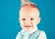 Healthy haircare tips for kids. Boy child with stylish blond hair. Little child with messy top haircut. Little child. With short haircut. Haircare products stock photos