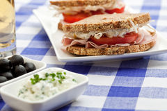 Healthy ham, cheese and tomato sandwich Stock Photos