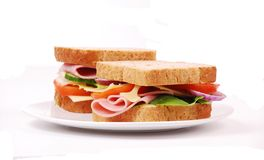 Healthy ham sandwich Stock Photos