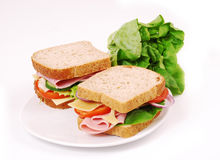 Healthy ham sandwich Royalty Free Stock Photo