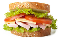 Healthy ham sandwich. With cheese, tomatoes and lettuce Stock Image