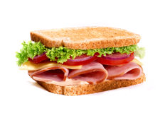 Healthy ham sandwich with cheese and tomatow Stock Photos