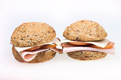 Healthy ham sandwich isolated Royalty Free Stock Photo