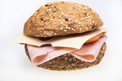 Healthy ham sandwich isolated Royalty Free Stock Photos