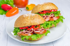 Healthy ham sandwiches on the plate. With vegetables on background Royalty Free Stock Photos