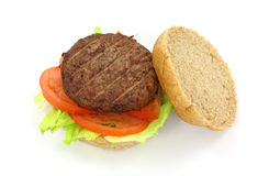 Healthy hamburger with lettuce and tomato Stock Photo