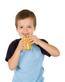 Healthy happy boy with juice - isolated Royalty Free Stock Photography