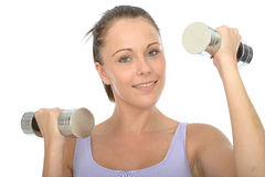 Healthy Happy Fit Young Woman Training With Dumb Bell Weights Stock Image