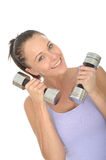 Healthy Happy Fit Young Woman Training With Dumb Bell Weights Stock Images