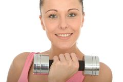 Healthy Happy Fit Young Woman Training With Dumb Bell Weights Stock Photos