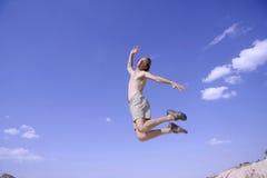 Healthy happy man jumping Royalty Free Stock Photos