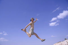 Healthy happy man jumping Stock Image