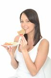 Healthy Happy Natural Attractive Young Woman Eating a Plate of Norwegian Style Breakfast Stock Photo