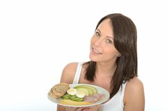 Healthy Happy Natural Young Woman Holding a Plate of Norwegian Style Breakfast Stock Image