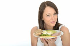 Healthy Happy Natural Young Woman Holding a Plate of Norwegian Style Breakfast Stock Photos
