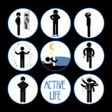 Healthy and happy stick man set Royalty Free Stock Photo