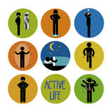 Healthy and happy stick man set Stock Images