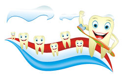 Healthy Happy Tooth With Toothbrush. Cartoon illustration from teeth care concept, funny teeth placed on toothpaste Stock Photography