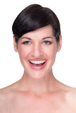 Healthy happy young brunette, on white Royalty Free Stock Images