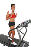 Healthy Happy Young Female on Treadmill Royalty Free Stock Images