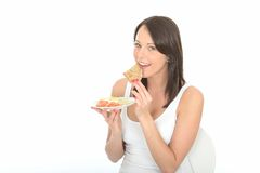 Healthy Happy Young Woman Eating a Plate of Norwegian Style Breakfast Royalty Free Stock Photography