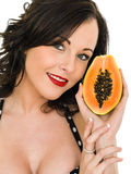 Healthy Happy Young Woman Holding A Fresh Ripe Paw Paw Fruit Stock Images