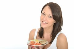 Healthy Happy Young Woman Holding a Plate of Norwegian Breakfast Stock Photography