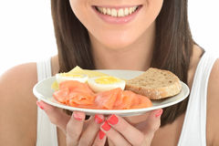 Healthy Happy Young Woman Holding a Plate of Norwegian Breakfast Stock Images