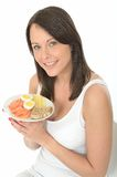Healthy Happy Young Woman Holding a Plate of Norwegian Breakfast Royalty Free Stock Image