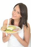 Healthy Happy Young Woman Holding a Plate of Norwegian Style Breakfast. A DSLR royalty free image, a young healthy fresh faced healthy woman, holding a plate of Royalty Free Stock Photo