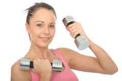 Healthy Happy Young Woman Training With Dumb Bell Weights Royalty Free Stock Photography