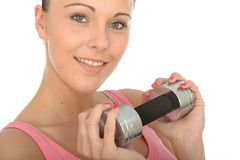 Healthy Happy Young Woman Training With Weights Smiling Royalty Free Stock Image