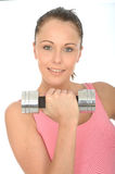 Healthy Happy Young Woman Training With Weights Smiling Stock Photo