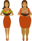 After healthy and harmful meal. Isolated illustration of thick and thin girls Stock Images