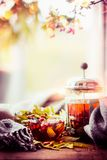 Healthy healing autumn tea with fall berries and herbs on window sill with leaves and scarf at nature background. Front view royalty free stock photo