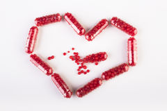 Healthy heart. Make by pills Stock Photo