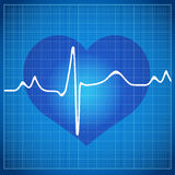 Healthy Heart cardiogram on blue background Stock Image