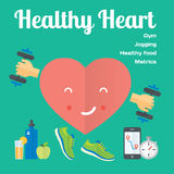 Healthy heart concept flat icons of jogging, gym, healthy food, metrics. Stock Photography