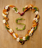 Healthy Heart ...? Eat 5 a Day fresh fruit n veg. Royalty Free Stock Photography