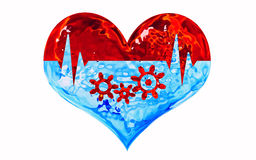 Healthy heart. Glassy heart shape with a pulse line and gears inside Stock Photography