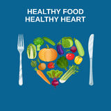 Healthy heart with healthy food concept Stock Photo
