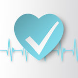 Healthy heart Icon with check symbol and cardiogram. Royalty Free Stock Photo