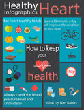 Healthy heart. Infographic how to keep your heart health Royalty Free Stock Image